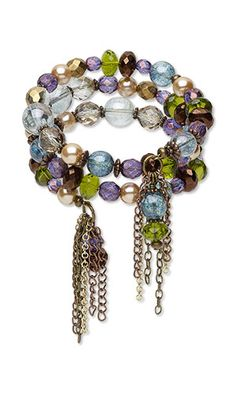 Jewelry Design - Memory Wire Bracelet with Czech Glass Beads, Celestial Crystal® Beads and Metal Beads and Chain - Fire Mountain Gems and Beads