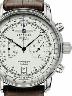 Graf Zeppelin Hand Wind Mechanical Chronograph Watch with Exhibition back - Watches Amazing Watches, Beautiful Watches, Cool Watches, Watches For Men, Herren Chronograph, Fine Watches, Omega Seamaster, Vintage Watches, Breitling
