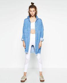 Image 1 of LONG DENIM JACKET from Zara