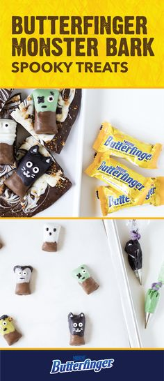 Start your next fall party off on a delicious note with a little help from this Butterfinger Monster Bark. This easy no-bake treat is a delicious Halloween dessert recipe that's sure to be a hit with friends and family alike. Use melted chocolate; candy eyes; and the crispety, crunchety, peanut-buttery taste of BUTTERFINGER® Fun Size candy bars to create this spooky sweet. Check out the full tutorial to learn more.