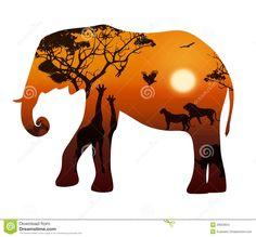 thumbs.dreamstime.com z elephant-silhouettes-animals-savanna-silhouette-white-background-landscape-sunset-savannah-illustration-33603654.jpg