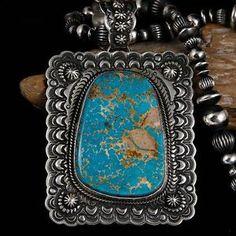 A-XL-Darryl-Becenti-ROYSTON-Turquoise-Necklace-Pendant-Squash-Blossom-Navajo
