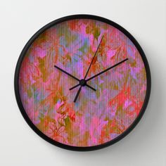 Day Time Floral Abstract Wall Clock by Judy Palkimas