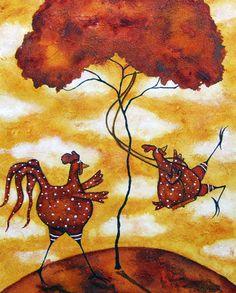 Animal Folk Art Paintings | Hubbs Children Art Folk Prints Whimsical Farm Animal Rooster Chicken ...