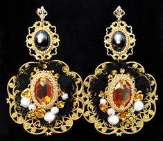 Fantastic Baroque Swarovski Agate Pearls 24k Gold Beads Earrings Dolce Earrings #Handmade #Chandelier