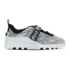MIU MIU Silver Glitter Logo Sneakers. #miumiu #shoes # #miumiulogo