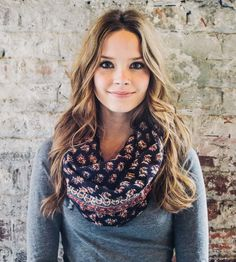 Navy Prairie Infinity Scarf - love the print for Fall