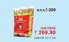 Get 10kgs pack of Aashirvaad Atta worth Rs 320 at just Rs 270. Valid across all SRS Value Bazaar outlets.