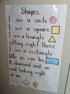 Kindergarten Classroom Ideas / Shapes Poem For the love I everything holy, please teach them that it's a rhombus and not a diamond! Preschool Classroom Themes, Preschool Songs, Preschool Learning, Kindergarten Classroom, Classroom Ideas, Preschool Shapes, Kindergarten Poems, Shape Activities Kindergarten, Body Parts Preschool