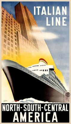 Italian Line 1926 Italy - Beautiful Vintage Poster Reproduction. This vertical Italian travel poster features a cruise ship moving through the water right next to a tall building against blue skies. Giclee Advertising Print. Classic Posters