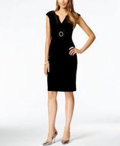 Connected Petite Cap-Sleeve Velvet Sheath Dress