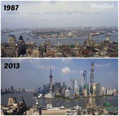 Shanghai 1987 and 2013, crazy transformation via Gizmodo