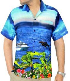 40c3a5da LA LEELA Men's Aloha Hawaiian Shirt Short Sleeve Button Down Casual Beach  Party Thanksgiving Christmas Gift Autumn Winter 2017