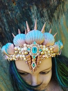 Bridal Crown, Bridal Tiara, Seashell Crown, Shell Crowns, Sea Queen, Pink Sand Beach, Mermaid Crown, Queen Art, Crystal Crown