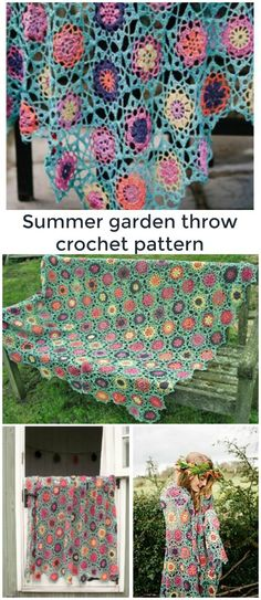 So pretty! Floral garden crochet throw pattern. Link includes how you can buy it as a kit as well.