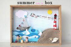 DIY diorama by Tea on the moon Summer Crafts, Diy And Crafts, Crafts For Kids, Handmade Crafts, Handmade Rugs, Diy Cadeau Noel, Shadow Box Art, Matchbox Art, Tin Art