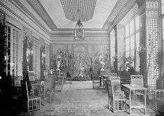 You know who else loved trellis? My homegirl Elsie de Wolfe. Elsie de Wolfe's Trellis Room at the Colony Club, circa 1913 . Image from Project Gutenberg Lolita and J Ogden Armour's winter garden in. Elsie De Wolfe, Versailles, Nyc In December, October, Palette, Interior Decorating, Interior Design, Modern Interior, Lake Forest