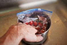 to later! De-stem tomatoes. Remove the stems (unless you have reason to keep them on Cherry Tomato Salsa, Cherry Tomatoes, Can You Freeze Grapes, Frozen Grapes, Preserves, Geek Stuff, Pudding, Canning, Vegetables