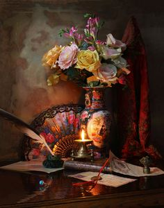 Still Life with Chinese Vase от Andrey Morozov Still Life Images, Still Life Art, Vase Centerpieces, Vases Decor, Green Vase, Blue Vases, Gold Vases, White Vases, Vase Design