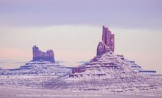 Winter Twilight in Monument Valley The red rocks of Monument Valley covered in a fresh snow at a winter twilight. I am a big fan of the southwest, esp... - Darren Huski - Google+