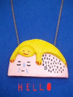 Don't Cry,  Pendant -  Clay Necklace