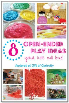 8 open-ended play ideas your kids will love! Let your kids get creative with these process-oriented art, craft, sensory, and pretend play ac...