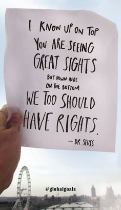 Wise words from Dr Seuss on rights in STICK THIS BOOK.