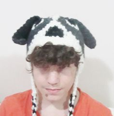 Mens Hand Knit Dog Hat in Dark Grey White Black  by earflaphats, $39.99