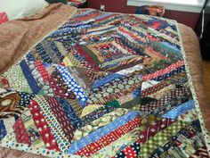 Robert sent me a huge box full of baseball themed neckties.  How could I not make a quilt in the shape of a diamond?        I love all the ...