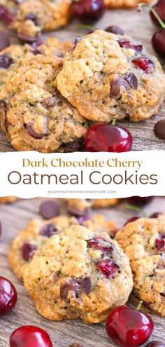These Dark Chocolate Cherry Oatmeal Cookies are your favorite old-fashioned oatmeal cookie made even better! With the addition of dark chocolate chips and chopped fresh cherries, they're a sure sign that summer's finally arrived. Homemade Cookie Dough, Homemade Oreos, Homemade Cookies, Sugar Cookies Recipe, Chocolate Cherry, Dark Chocolate Chips, Chocolate Chip Cookies, Bake Sale Cookies, Cookie Bowls