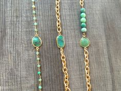 Chrysoprase Stone Bracelet with Gold Chain BG01 by joydravecky