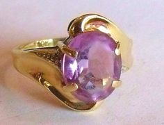 10k Amethyst Ring - Size 8 Art Deco Yellow Gold Ring with a 4 Carat Oval Amethyst and Two 1mm Diamond Chip Accents - February Birthstone (230.00 USD) by EstatesInTime