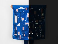Tokyo Lights up at Night in New Glow-In-The-Dark Furoshiki Scarf | Colossal