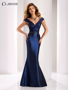 Clarisse Couture 4862 Navy V-Neck Prom Dress