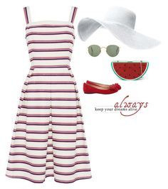 """""""always"""" by blueeyed-dreamer ❤ liked on Polyvore featuring Jessica Simpson, Summer, stripes, midi, sundress and Dressunder50"""