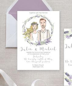 Wedding Invitation Printable Lavender Set RSVP by HappyLittleGrape