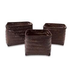 Morgana Bamboo Storage Baskets in Espresso (Set of 3) - BedBathandBeyond.com