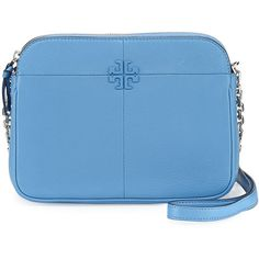 Tory Burch Ivy Leather Crossbody Bag featuring polyvore, women's fashion, bags, handbags, shoulder bags, montego blue, leather crossbody purses, leather purses, leather cross body handbags, tory burch crossbody and blue leather handbags
