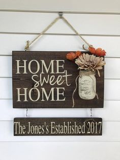 Home sweet home personalized wood sign, outdoor hanging sign for front porch, custom front door mason jar established sign, anniversary gift – Home Design Wood Signs For Home, Diy Wood Signs, Custom Wood Signs, Home Signs, Pallet Signs, Mason Jar Crafts, Mason Jars, Arte Pallet, Sweet Home