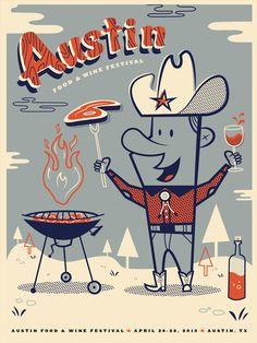 Replicando el concepto vintage en favor de la barbacoa del Austin Food & Wine Festival.