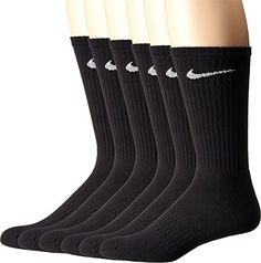bb7d5c20a911d NIKE Unisex Performance Cushion Crew Socks with Band Pairs), Black/White,  Large