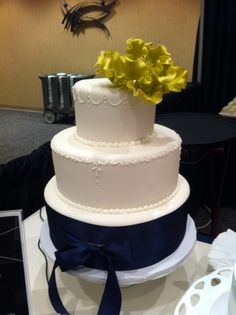 Sapphire and Gold Wedding Cake
