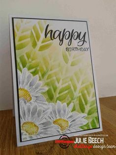 Card by Julie using Bloom Sketches, Sentiment Builders: Happy, and ARTplorations Leaf Prints stencil