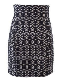 Der schmale Rock aus Jacquard mit hohem Formbund ist ein Styling-Highlight für schlichte Hemden oder Shirts. Schöner Akzent: Die Teilungsnähte zieren Paspeltaschen.
