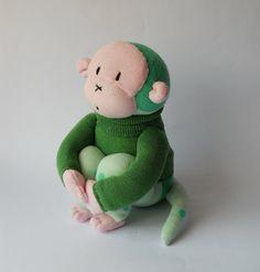 sock monkey stuffed animal doll sock animal by TreacherCreatures, $35.00