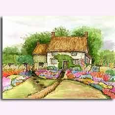 Brian's Cottage - original artwork by Judith Baker Montano