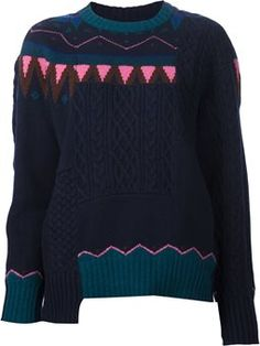 Nordic intarsia patchwork sweater