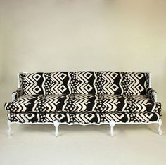 black and white patterned couch