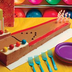 Bowling Lane Cake: Perfect for a classic bowling party, this Bowling Jason birthday cake! Lane cake is a candy-lovers dream made with gumballs, Fruit by the Foot, licorice and chocolate chips. Bowling Birthday Cakes, Pretty Birthday Cakes, Birthday Fun, Birthday Parties, 10th Birthday, Birthday Ideas, Birthday Stuff, Lane Cake, Bowling Party