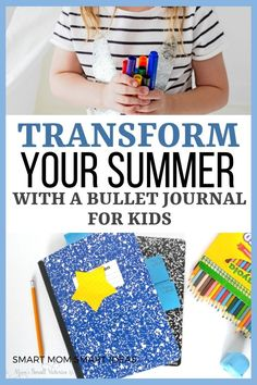 Make summer fun with a kids summer bullet journal. #bulletjournal, #kidsbulletjournal